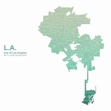 los angeles, L.A. city map. los angeles city, california vector map.