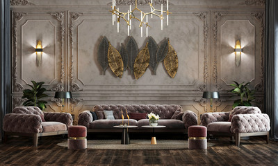 interior of Luxurious classic reception hall design with armchair, console, vintage white and gray wall effect, ornamental plants, parquet flooring