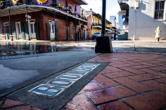 Looking Down Bourbon Street From Tiles in Sidewalk