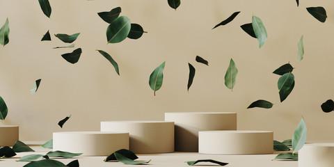 Fototapeta Cosmetic background for product presentation. Beige paper podium and falling green leaves on beige background. 3d rendering illustration. obraz