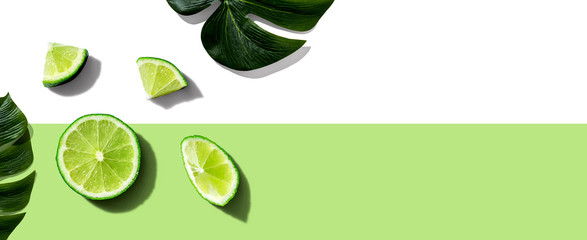 Fresh green limes overhead view - flat lay