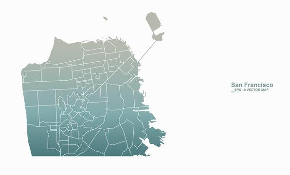 san francisco map. vector city map of san francisco, california, usa.