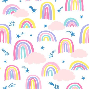 Seamless repeat pattern in pastel colors with sketched shooting stars, thick marker rainbows and pink clouds
