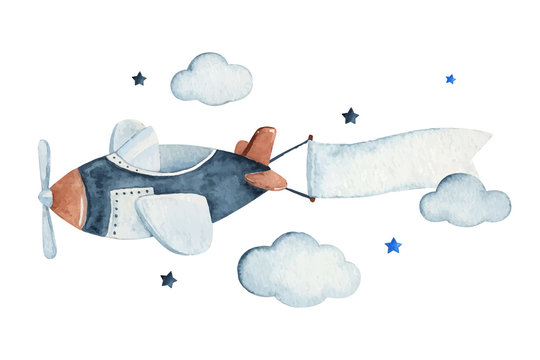 Cute watercolor sky scene with air plane, clouds and stars, watercolor hand drawn illustration