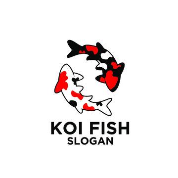 two red black white koi fish logo icon design