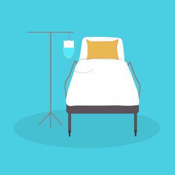 VECTOR ILLUSTRATION OF BED IN THE HOSPITAL, FRONT CAMILLA WITH SERUM HOLDER