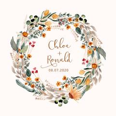 beautiful flower meadow watercolor wreath