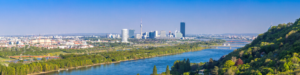 Panorama of Vienna Skyline with danube river and island near Kahlenbergdorf, taken from