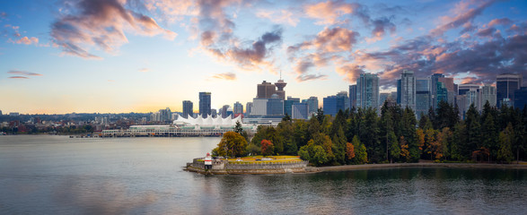 Vancouver, British Columbia, Canada. Beautiful Panoramic View of Modern Downtown City, Stanley Park and Coal Harbour. Colorful Sunrise Sky Composite. Cityscape Panorama Fotomurales