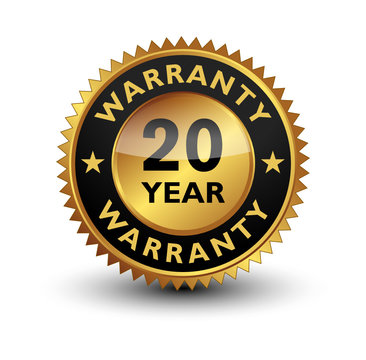 20 Year warranty golden seal, stamp, badge, stamp, sign, label isolated on white background.