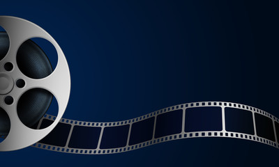 Film reel and film strip isolated on blue background. Realistic Cinema Background with place for your text. 3d movie art template for cinema festival, ticket, brochure, banner, poster. Movie design