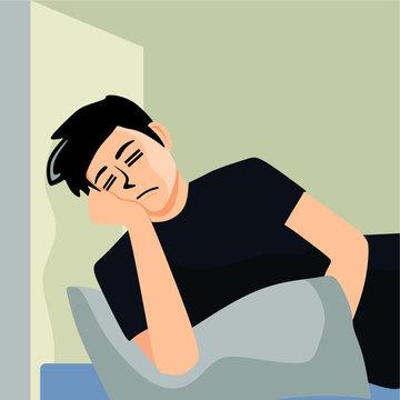 flat design illustration of lazy people