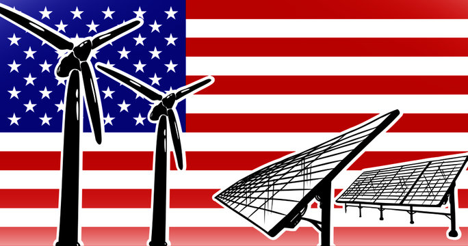 Alternative energy vector concept for USA wind turbines and solar panels on flag background, used colors blue, red, white