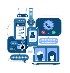 Autocollant pour porte Art abstrait Online Chat and Communication Devices concept vector illustration. Blue monochrome design isolated on a white background. Computers, smartphones and electronic devices .