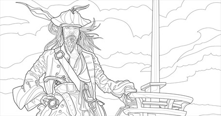 Pirate in the sea vector line art. Coloring page for adults. Outline style nature and people illustration. Stroke without fill. Black contour sketch isolated on white background.
