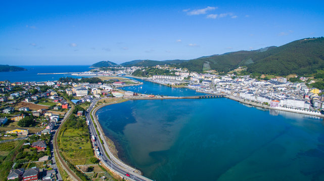 aerial view of Viveiro in Galicia Spain