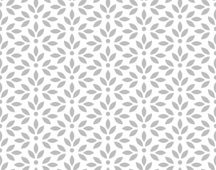 Fotorolgordijn Geometrisch Flower geometric pattern. Seamless vector background. White and grey ornament. Ornament for fabric, wallpaper, packaging. Decorative print.