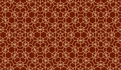 Fotorolgordijn Geometrisch The geometric pattern with lines. Seamless vector background. Gold and red texture. Graphic modern pattern. Simple lattice graphic design