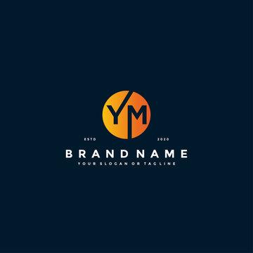 letter YM logo design vector