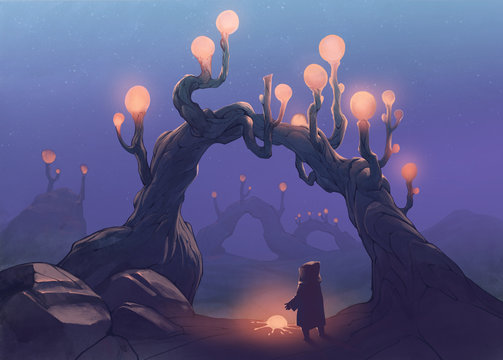 Surreal original digital painting with a strangle glowing fruit on a tree and a person standing beneath it