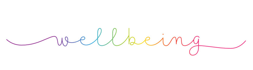 WELLBEING rainbow-colored vector monoline calligraphy banner with swashes