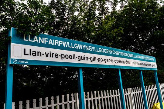 Editorial, Arriva Trains Station Platform sign for llanfairpwllgwyngyllgogerychwyrndrobwllllantysiliogogogoch