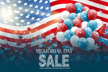 Memorial Day sale banner. Blue, red, and white USA national flag and balloons. Vector illustration. Fototapete