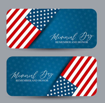 Memorial Day banner or coupon set. Remember and honor. USA country flag. National celebration concept. Vector illustration.