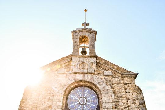 bell tower of church, photo as a background , San Juan de Gaztelugatxe Basque country spain