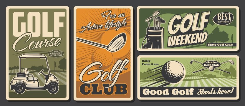 Golf club, sport activity and leisure, vector vintage retro posters. Weekend golf sport training on green field course, golfer equipment balls and clubs kit in golf cart