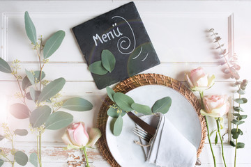 Place setting for a menu