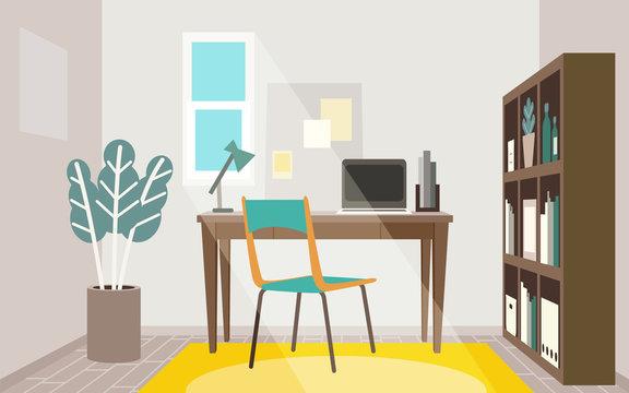 テレワークを行うお洒落なホームオフィス用部屋のイメージ