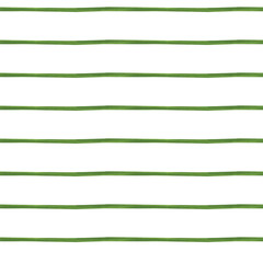 Seamless pattern in a thin, green stripe on a white background. An infinite, free line of paint. A simple ornament. Print for fabric, paper, packaging. Stock image