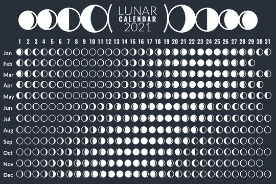 Moon calendar. Lunar phases calendar 2021 poster design, monthly cycle planner, astrology moon card, astronomy grid diary vector template
