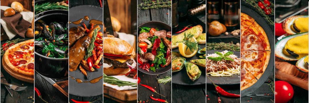 Various gourmet italian dishes collage menu design