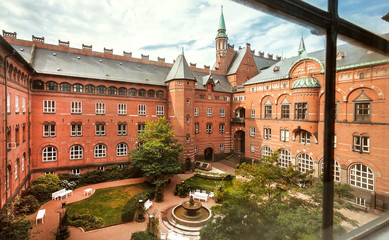 Window view on courtyard of Copenhagen City Hall, built in 1905 in National Romantic style