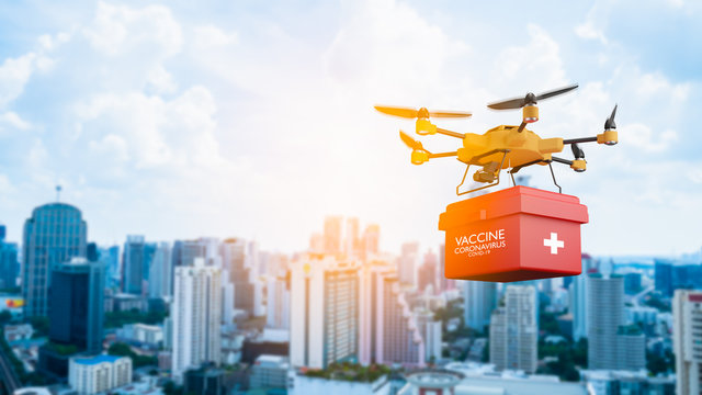 Smart technology of drone brings coronavirus(covid-19) vaccine to Around the world.AI(Artificial Intelligence) auto pilot carries red box package containing COVID19 vaccine to Quarantine stay at home