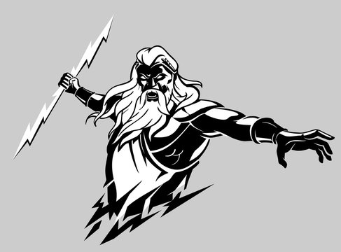 Zeus Wrath, Greek God Holding Lighting Bolt