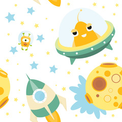 Funny Space Monsters Seamless pattern - Cartoon Cute Aliens, UFO and Planets. Space background. Vector Illustration. Print for Wallpaper, Baby Clothes, Greeting Card, Wrapping Paper.