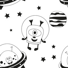 Funny Monsters Seamless pattern - Cute Aliens in Outer Space. Black and White background. Monochrome Vector Illustration. BW Print for Wallpaper, Baby Clothes, Greeting Card, Wrapping Paper.