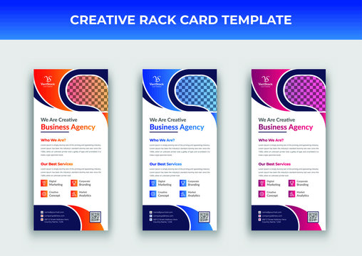 Corporate rack card template, Business rack card template, Dl flyer template