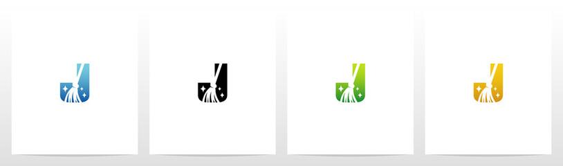 Broom On Letter Logo Design J
