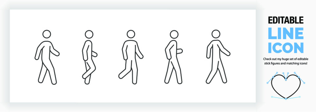 Editable line icon set of a stick man or stick figure walking in different poses in a dynamic outline graphic design style standing on both or one leg in side and front full body view as a eps vector