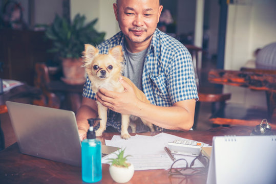 Businessman working online at the home office by laptop. Asian young entrepreneur watching webinars and talking during meeting conference with team, and play with dog. Technology concept