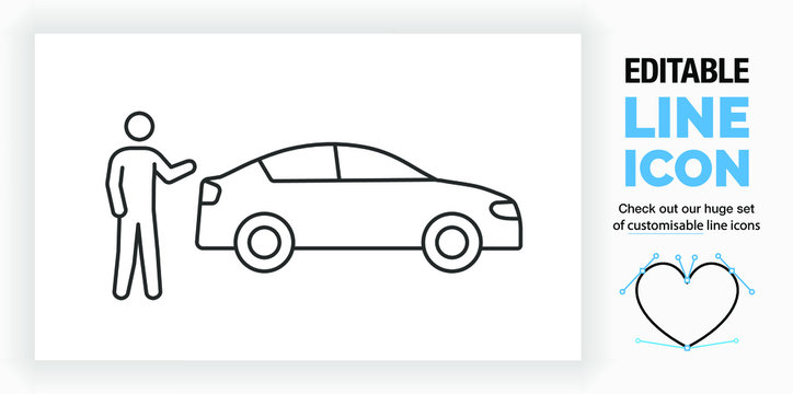 Editable line icon of a car salesman of driver showing his car, part of a huge set of editable linear stick figures!