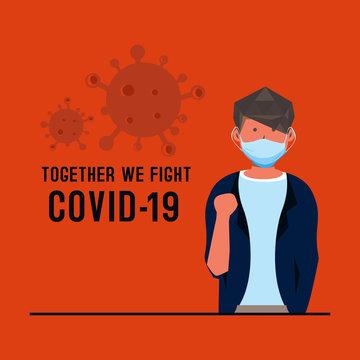 Flat illustration male say together we fight corona virus vector design