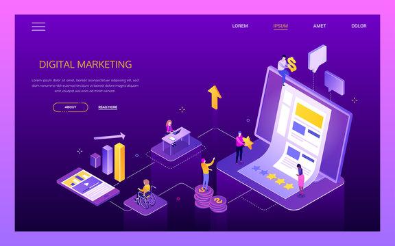 Digital marketing - modern isometric vector web banner