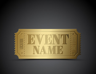 Vector golden ticket as a template for your event