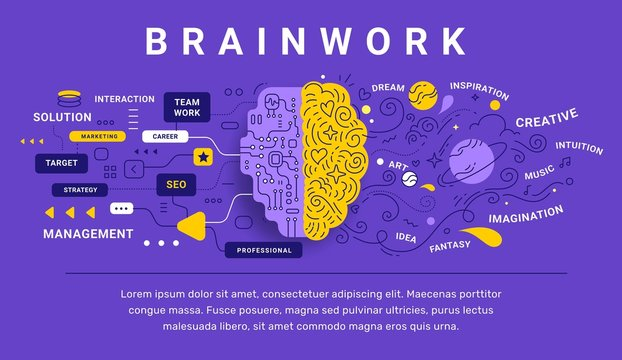 Vector creative illustration of decorative human brain with icon
