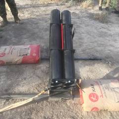 A katyusha rocket launcher found by the Iraqi Army, is seen in a rural area in western Baghdad, in this picture provided by Iraqi Media Security Cell